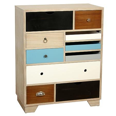 PAME 40712 - Cómoda de madera con cajones colores, 88,5 x 70 x 30 cm