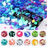 QIMYAR 12 Pieces/Set Semi-transparent Mermaid Nail Glitter Sequins 1.5g Colorful Round Paillette Manicure Nail Flakies Decoration (Color: Semi-transparent Mermaid)