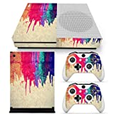 SKINOWN Skin Sticker for Microsoft Xbox One S Slim Console and 2 Controller (Paint) (Color: Paint1)