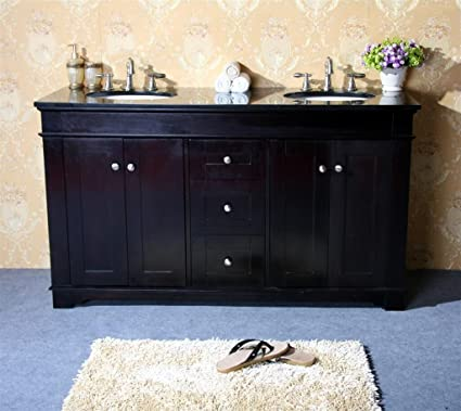 "Legion Furniture WLF6018-60E/AB 60"" Double Sink Bathroom Vanity and Absolute Black Granite Top, Espresso Finish"
