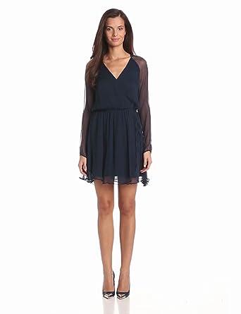 Greylin Women's Faye Silk Faux Wrap Dress, Storm, X-Small