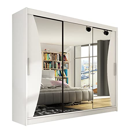 Modernes Kleiderschrank Aston IV, Spiegel, Garderobe, Schlafzimmer, 250 x 215 x58 cm, Schwebeturenschrank, Schlafzimmerschrank, Schiebeturenschrank (Weiß)
