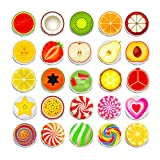 100 Pieces Creative Fashion Steel Thumb Tacks Push Pins Decorative Different Patterns for Photos Wall, Maps, Bulletin Board or Corkboards (Fruit) (Color: Fruit)