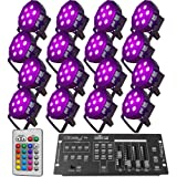 Up-Lighting System - 16 FlatPar Quad Color 7 x 10 watt RGBW Up Lights w/Easy Controler - DJ Light