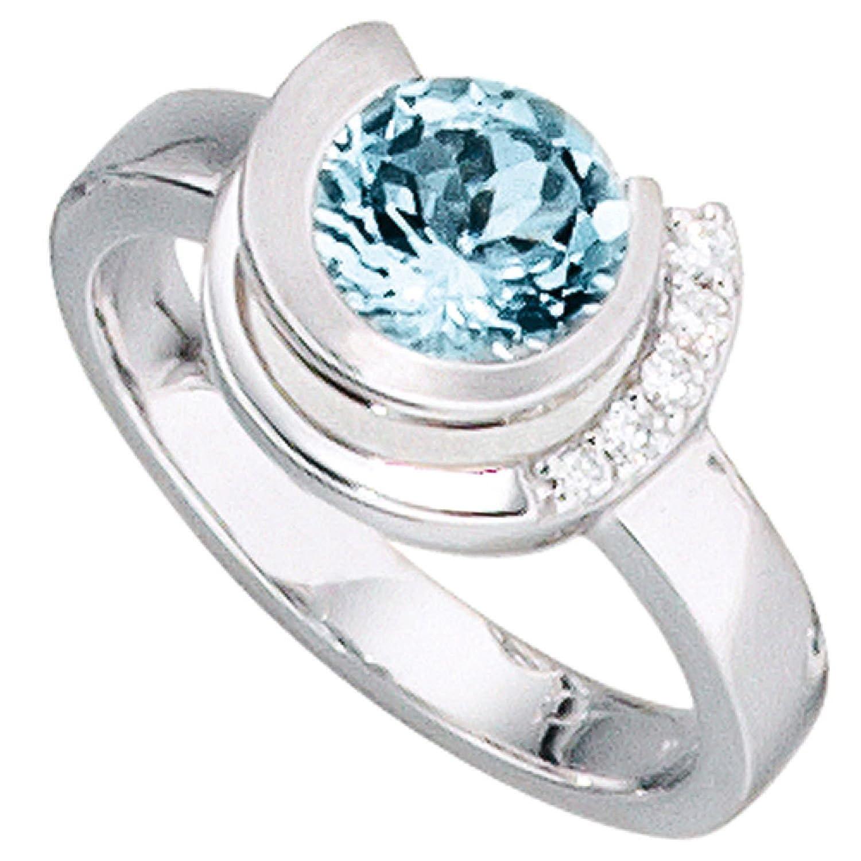 Damen-Ring 585 Weißgold 5 Diamant-Brillanten, 1 Aquamarin bestellen