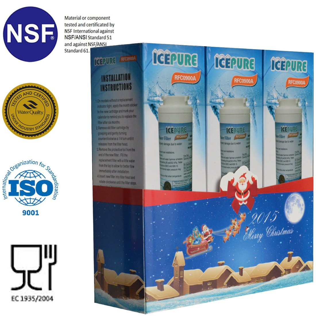 Holiday promotions Icepure RFC0900A-3PACK Fridge Replacement Water Filter For Whirlpool 4396395