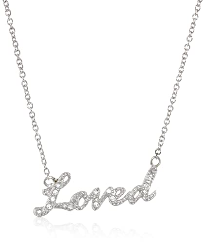 "Sterling Silver Diamond ""Loved"" Necklace with Bronze Chain, 18″+1.5″ Extender $39.00"
