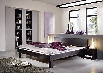 SAM® Massiv Holz Bett Columbia, Bett aus Kernbuche, wenge geölt, geschlossenes Kopfteil, naturliches Design mit individueller Wuchsrichtung, 90 x 200 cm