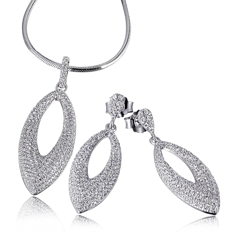 Goldmaid Damen-Schmuckset Halskette + Ohrringe Glamour 925 Silber rhodiniert Zirkonia Brillantschliff weiß – Pa S5764S jetzt bestellen