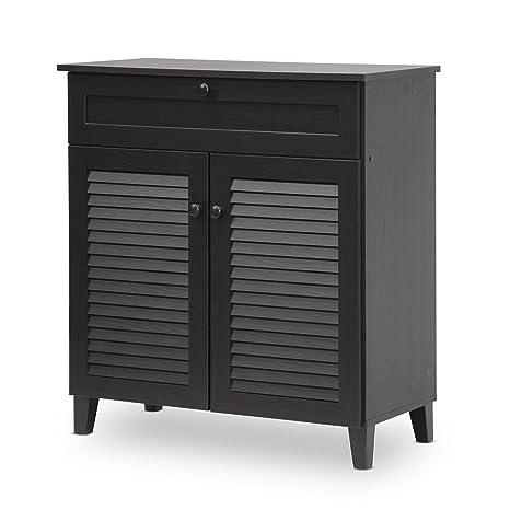 Baxton Studio Calvin Shoe-Storage Cabinet, Espresso
