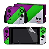 eXtremeRate Full Set Faceplate Skin Decals Stickers and 2 Pcs Screen Protector for Nintendo Switch/NS Console & Joy-con Controller & Dock Protection Kit - Joker (Color: Joker)