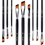 Angled Flat Tipped Brushes by Amagic Art Angular Paintbrush Set for Acrylic Oil Watercolor, 9 Pieces Face and Body Professional Painting Kits with Synthetic Nylon Tips (Color: Angular Paintbrush, Tamaño: Small)