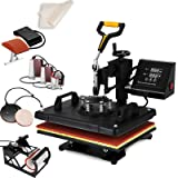 "SHZOND Heat Press 12""x 15"" 8 in 1 Combo Heat Transfer Machine Multifunctional Digital Transfer Sublimation Heat Press Machine for T Shirts/Hat/Mug/Plate/Cap (12x15 inch 8 in 1) (Color: 12x15 inch 8 in 1)"