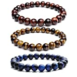 JOVIVI Set of 3 8MM Natural Semi Precious Gemstone Healing Power Round Bead Elastic Stretch Bracelet Variation Colors and Material