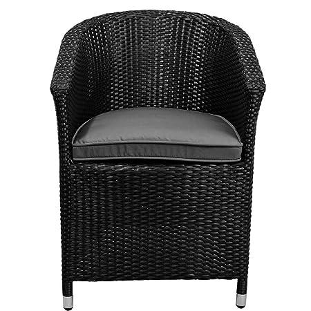 BUTLERS IN AND OUT Stuhl mit Kissen - Rattan-Sessel - Garten-Stuhl - Kunststoff - wasserabweisend - 57 x 65,5 x 80 cm