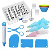 Ouddy 56-Piece Cake Decorating Supplies Set - Cupcake Decorating Kit with 30 Icing Tips and 12 Pastry Bags - Baking Supplies and Frosting Tools Set for Cupcakes Cookies Decoration (Color: 56 Pack, Tamaño: One Size)