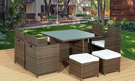 Frankfurt & Co Rattan Gartenmöbel Set 8-Sitzer Outdoor Rattan Cube 9