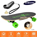 Rapesee 7-Layer Maple Electric Skateboard Penny Board, 350W Battery Powered Skateboard Automatic Motorized Longboard with Bluetooth Speaker, Front Light & Remote Controller (Green) (Color: Green)