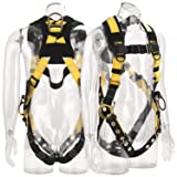 WELKFORDER 3D-Rings Industrial Fall Protection Safety Harness With Leg Tongue Buckles | Shoulder Pad Support ANSI Compliant Full Body Personal Protection Equipment (Tamaño: height range of 5'4