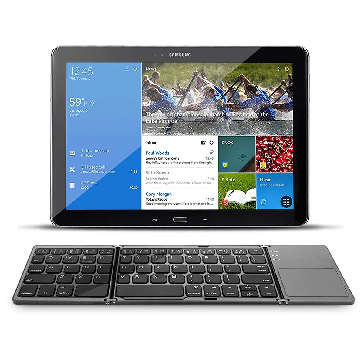 Folding Bluetooth Keyboard, Jelly Comb Rechargeable Portable BT Wireless Foldable Mini Keyboard with Touchpad for Tablet Samsung or Other Cell Phones (Dark Gray)