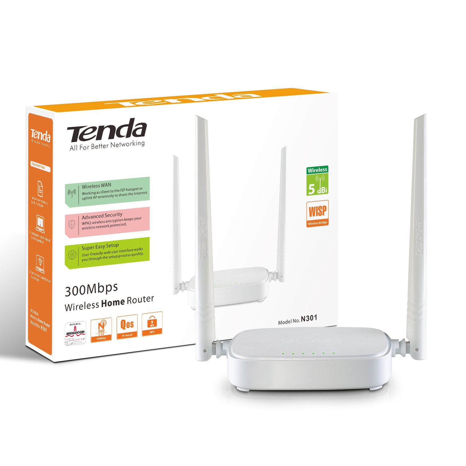 Tenda N301 Wireless N300 Easy Setup Router