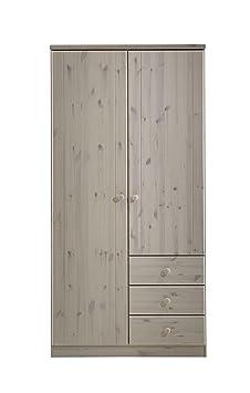 Steens 3451060013000F Ribe Kleiderschrank 2-turig, kiefer massiv 202 x 101 x 60 cm, weiß
