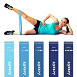 Letsfit Resistance Loop Bands, Resistance Exercise Bands for Home Fitness, Stretching, Strength Training, Physical Therapy, Natural Latex Workout Bands with Exercise Guide and Carry Bag, Set of 5 (Color: Blue, Tamaño: 12