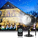 Christmas Projector Light Outdoor Snowfall LED Projector Waterproof Rotating Snow Projection with RF Remote Snow DecorativeProjector for Christmas, Holiday, Halloween Party, Wedding, Garden, Yard (Color: Black)