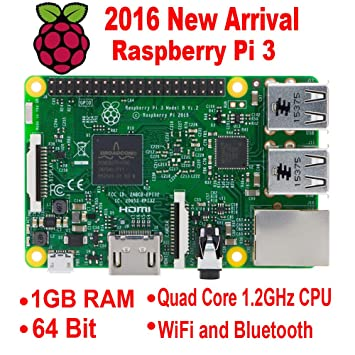 Raspberry Pi 3 (1,2 GHz quad-core, 1 GB Ram, Wifi, Bluetooth)
