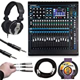 Allen & Heath QU-16C Rack Mountable Compact Digital Mixer, Chrome Edition + Headphones + Stereo Interconnect Cable + Label Kit + 10 ft Cable + Mic Cable - Top Value Mixer Accessory Kit!