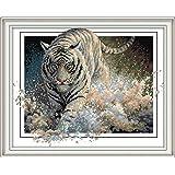 Joy Sunday Cross Stitch Kits 11CT Stamped White Tiger 17.7