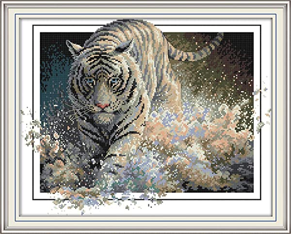 Joy Sunday Cross Stitch Kits 11CT Stamped White Tiger 17.7x22 or 45cmx56cm Easy Patterns Embroidery for Girls Crafts DMC Cross-Stitch Supplies Needlework Animal Series (Color: White tiger)