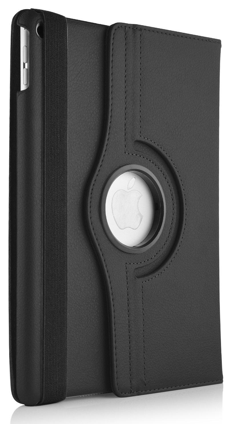 JAMMYLIZARD | Funda De Piel Giratoria Color NEGRO Con Soporte Rotativo 360 Grados Smart Case Cover Para iPad Air 2, 2014 (6ta Generación) con Tapa Función Despertar / Dormir  Electrónica Comentarios de clientes