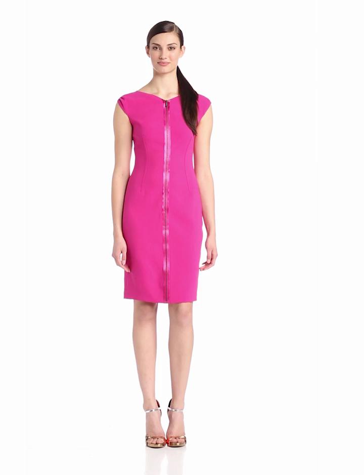 ELIE TAHARI Womens Ruth Zipper Detail Cap Sleeve Dress, Full Bloom, 4