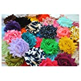 YYCRAFT 30 pieces Shabby Flowers - Chiffon Fabric Roses - 2.5