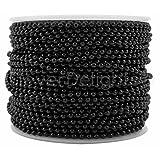 CleverDelights Ball Chain Spool - 100 Feet - 2.0mm Ball - Dark Black Color - Bulk Roll (Color: Black, Tamaño: 2mm)
