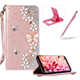 Diamond Leather Case for Samsung Galaxy J7 2016 J710,Rose Gold Strap Wallet Cover for Samsung Galaxy J7 2016 J710,Herzzer Luxury 3D Butterfly Decor Design Stand Glitter Magnetic Smart Leather Case (Color: Diamant 3#)