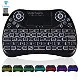 Upgraded 2018,Colorful 2.4GHz Wireless Mini Keyboard Backlit with Touchpad Mouse Combo,USB Handheld Rechargeable Multimedia Remote Keyboard for PC,HTPC,IPTV,Tablet,Smart TV,Android TV Box other device (Color: update colorful)