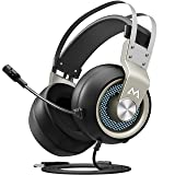 Mpow EG3(Series II) PC Gaming Headset, 7.1 Surround Sound Computer USB Headset, Metal Frame, 50mm Driver, Quick Mic/Volume Control, Soft Over-Ear Ear Pads, LED Gaming Headphones for PC/PS4 (Color: Silver)