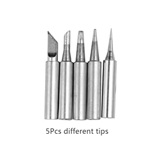 110V 60W Adjustable Temperature Electric Soldering Iron Welding Rework Repair Tool With 5pcs Solder Tip US Plug (Color: Blue, Tamaño: Full Size)