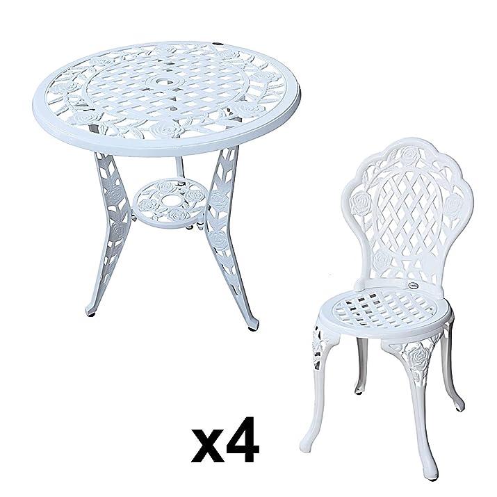 Lazy Susan - Tavolino ROSE con 4 sedie bistro ROSE coordinate - Set da giardino in alluminio pressofuso, Bianco
