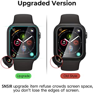SNSIR Hard Protective Case for Apple Watch Series 5&4 44mm with Ultra-Thin Tempered Glass Screen Protector (Black 44mm) (Tamaño: 44mm)