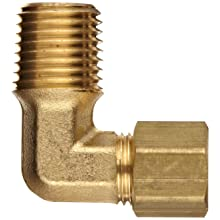 "Dixon 169C-0404 Brass Compression Tube Fitting, Elbow, 1/4"" Tube OD x 1/4"" NPTF Male"