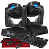 American DJ Pocket Pro - Compact LED Moving Head Light (Black), 2-Pack and ADJ 32-Channel DMX Controller Deluxe Accessory Bundle (Tamaño: Deluxe)