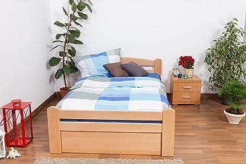 """Bett / Gästebett """"Easy Sleep"""" K4 inkl. 2 Schubladen und 1 Abdeckblende, 120 x 200 cm Buche Vollholz massiv Natur"""