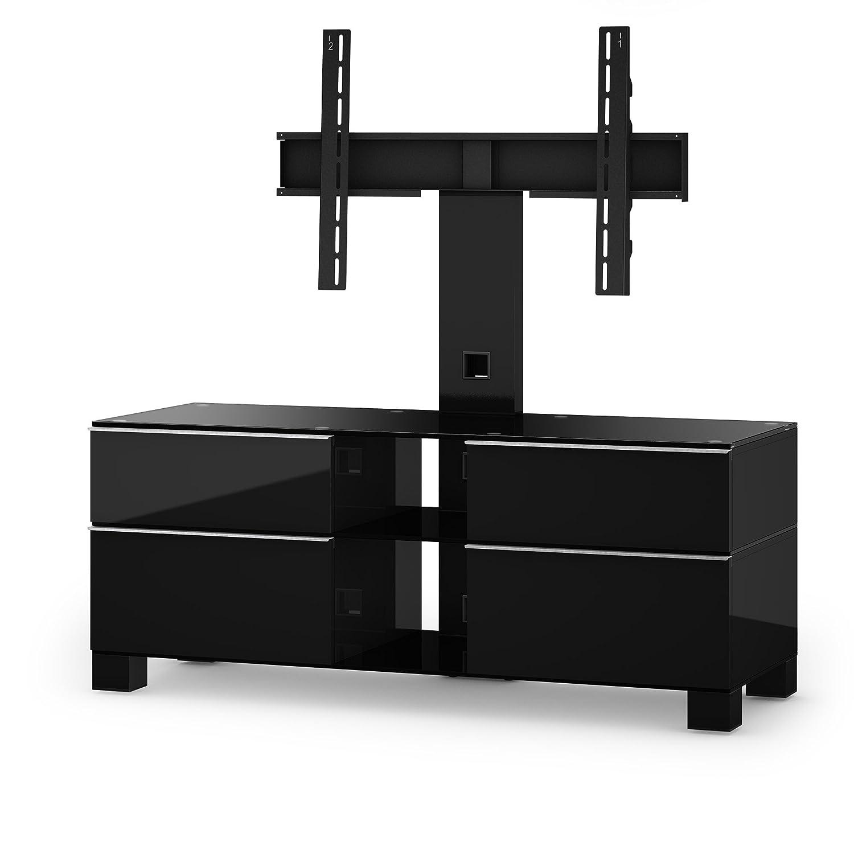 Sonorous MD 8220-B-HBLK-BLK Fernseher-Möbel mit Schwarzglas (Aluminium Hochglanz/Korpus Hochglanzdekor) schwarz