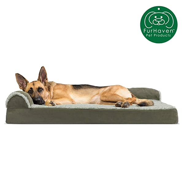 Furhaven Pet Dog Bed | Deluxe Memory Foam Two-Tone Plush Faux Fur & Suede L Shaped Chaise Lounge Living Room Corner Couch Pet Bed w/ Removable Cover for Dogs & Cats, Dark Sage, Jumbo (Color: Two-Tone Dark Sage, Tamaño: Jumbo)