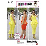 Simplicity Creative Patterns 8136 Mimi G Style Peplum Top with Cropped Pants or Shorts, H5 (6-8-10-12-14) (Tamaño: H5 (6-8-10-12-14))