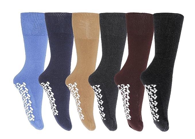 Gilbin Mens Diabetic Non Skid Hospital Slipper Socks,size 10-13,6 Pairs