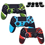 PS4 Controller Silicone Cover Skins, BRHE 3 Package DualShock 4 Camouflage Protector Skin Case Accessories Kits for Sony Playstation 4 /PS4 Slim /PS4 Pro Wireless/Wired Gamepad with 8 x Pro Thumb Grip (Color: camouflage)